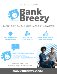 BankBreezy Small Business Funding Up To $25k Today